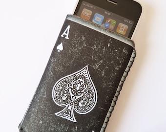iPhone 7 Case, iPhone 6/6S Case, iPhone 5/5S/5C Case - Ace of Spades Card - Soft Felt iPhone Sleeve, Felt iPhone Case