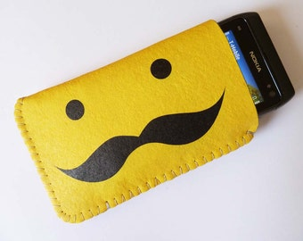 Moustache iPhone Case / Felt iPhone Case / iPhone Soft Case / Fabric iPhone Case