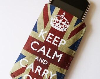 Felt iPhone 7 Case, iPhone 6/6S Case, iPhone 5/5S/5C Case - Grunge Union Jack Keep Calm And Carry On - Felt Soft iPhone Sleeve