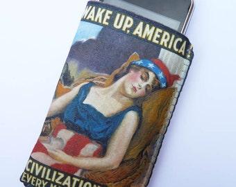 iPhone 6S iPhone 6 iPhone 7 Case Wake Up America Propaganda WW1 Vintage Poster