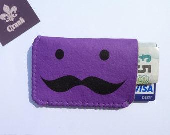 Business Card Holder - Purple Moustache - Business Card Case - Credit Card Case Wallet