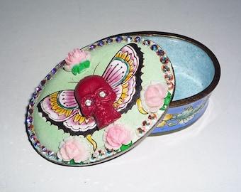 SALE was 32 Now 20 /  Dia De Los Muertos Deco Mosaic Magic Sparkle Skullerfly Death and Roses Trinket Jewelry Stash Box Swarovski AB Crystal