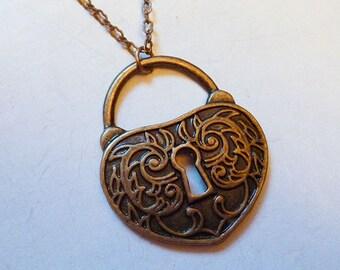 SALE // UNISEX Chunky Antique Heart Lock Necklace Oxidized Brass // Romantic Love Goth Steampunk Boho Vintage Baroque Art Nouveau Victorian
