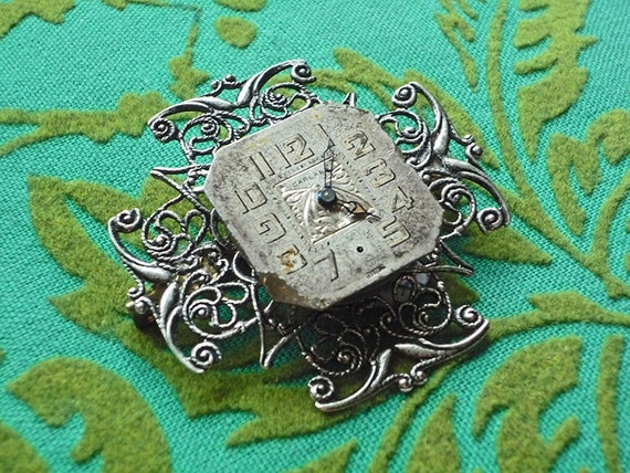 SALE Was 48 NOW 26 //  Time Stands Still Neo Victorian Steampunk Vintage Watch Face Filigree Brooch Pin or Pendant