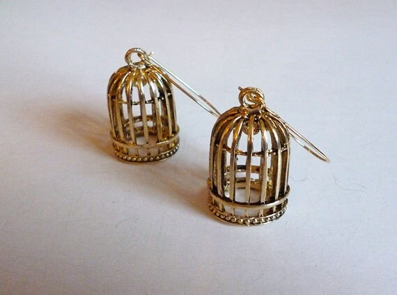 SALE Was 38 Now 28 // Little Golden Birdcage Earrings // Bird Feather Oddity Curiousity Freedom Nature