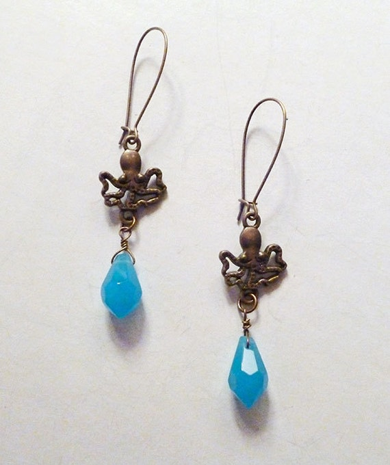 SALE Was 25 NOW 16 // Tiny Antiqued Brass Octopus Earrings with Brilliant Blue Quartz // Cthulu Squid Steampunk Goth Ocean Punk