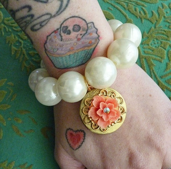 Southern Belle Chunky Pearl Bracelet with Beautiful Vintage Coral Flower Brass Locket Charm Darling Retro Deco 1950s