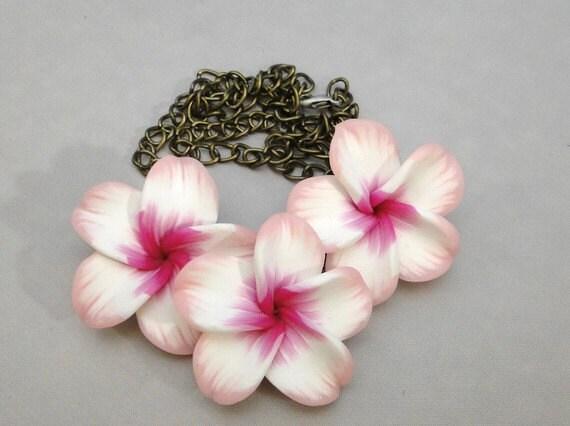 Pink Plumeria Frangipani Polymer Clay Flower Bib Necklace