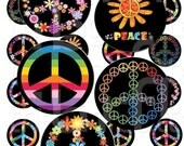 Hippie Peace - 1 inch Circles - Digital Collage Sheet - Instant Download and Print
