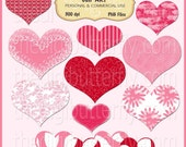 Love Hearts Clip Art Set - Personal and Commercial Use - Digital Instant Download