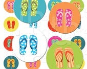 Flip Flop Fridays - 1 inch Circles - Digital Collage Sheet - Instant  Download and Print