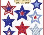 July 4th Stars Clip Art Set - Personal and Commercial Use - Digital Instant Download