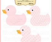Pink Ducky Clip Art Set - Personal and Commercial Use - Digital Instant Download