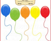 Party Balloons Clip Art Set - Personal and Commercial Use - Digital Instant Download
