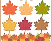 Fall Leaves Clip Art Set - Personal and Commercial Use - Digital Instant Download