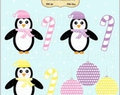 Holiday Pretty Penguins Clip Art Set - Personal and Commercial Use - Digital Instant Download