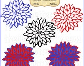 Primary Floral Bursts Clip Art Set - Personal and Commercial Use - Digital Instant Download
