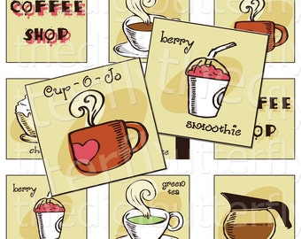 Coffee Shop - 2 inch Squares - Digital Collage Sheet - Instant Download and Print
