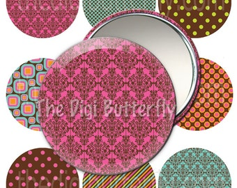 Joleen - 2.25 inch Pocket Mirror Circles, Pinback Buttons - Digital Collage Sheet, Download and Print