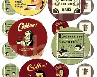 Vintage Coffee- 1 inch Circles - Digital Collage Sheet - Instant Download and Print