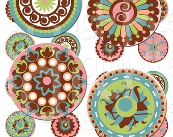 Daisy Daze - 1 inch Circles - Digital Collage Sheet - Instant Download and Print