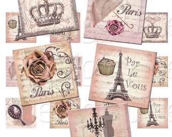Par Le Vous - 1 inch Squares - Digital Collage Sheet - Instant Download and Print