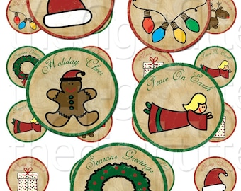 Tis The Season - 1 inch Circles - Digital Collage Sheet - Instant Download and Print