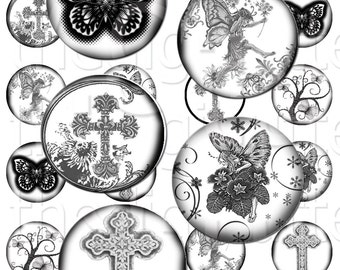 Mystic Garden - 1 inch Circles - Digital Collage Sheet - Instant Download and Print