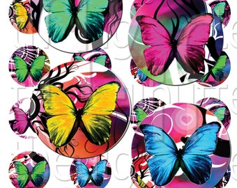 Butterfly Brights - 1 inch Circles - Digital Collage Sheet - Instant Download and Print