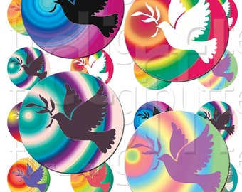 The Dove - 1 inch Circles - Digital Collage Sheet - Instant Download and Print