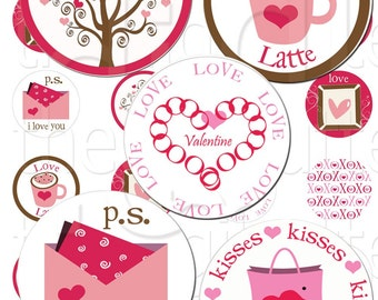 Very Valentine - 1 inch Circles - Digital Collage Sheet - Instant Download and Print