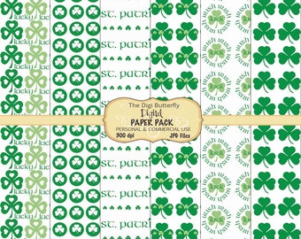 Lucky Clovers - Digital Paper Pack - For Personal and Commercial Use - Digital Instant Download