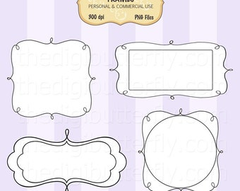 Allisa - Digital Clip Art Frames - Personal and Commercial Use - Digital Instant Download