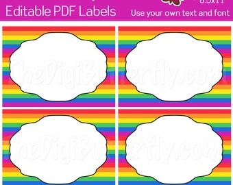 Rainbow Stripes Labels - EDITABLE PDF Labels - Add your own Text and Font -  Instant Download and Print