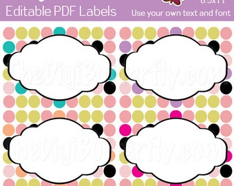 Jenni Labels - EDITABLE PDF Labels - Add your own Text and Font -  Instant Download and Print
