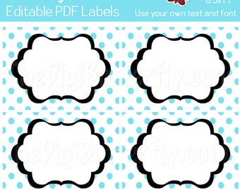 Skye Labels - EDITABLE PDF Labels - Add your own Text and Font -  Instant Download and Print
