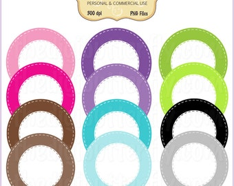 Circle Stitch - Digital Clip Art Frames - Personal and Commercial Use - Digital Instant Download