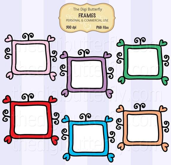 Doodle TV- Digital Clip Art Frames - Personal and Commercial Use - Digital Instant Download