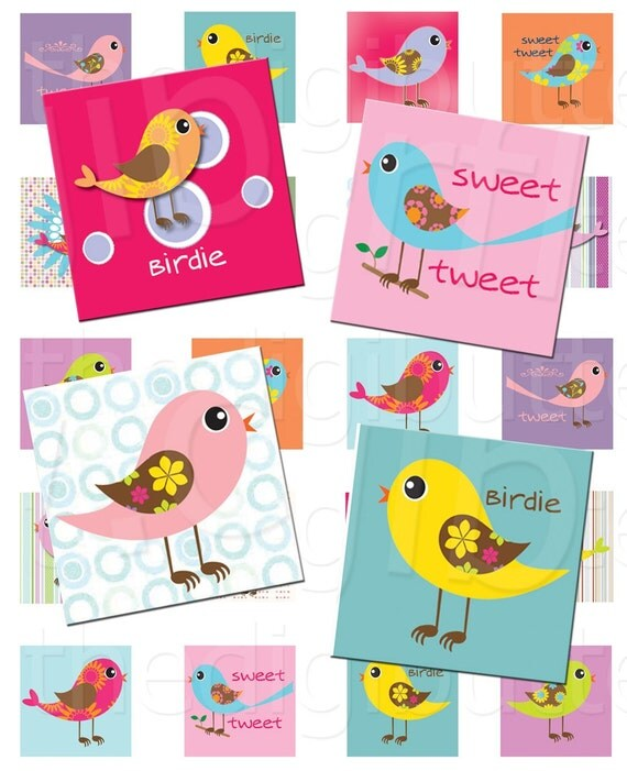 Sweet Tweet - 1 inch Squares - Digital Collage Sheet - Instant Download and Print