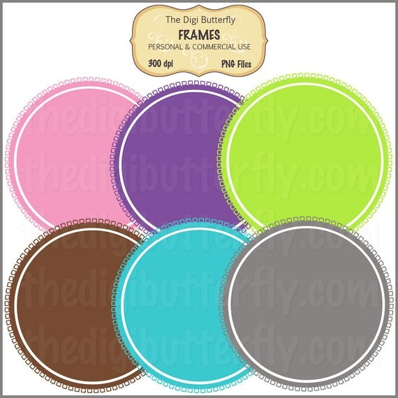 Fringy Circles - Digital Clip Art Frames - Personal and Commercial Use - Digital Instant Download