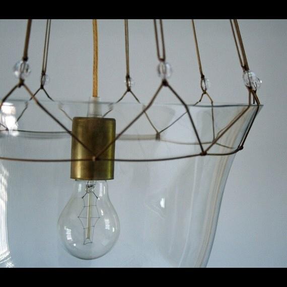 Hanging Light Fixture Glass Shades: Large Hanging Glass Bell Lantern Light Fixture