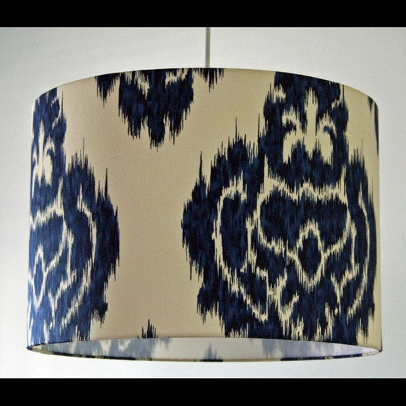 Large Navy Medallion Ikat Drum Lampshade.  Many Sizes and One Addtl. Color Available.