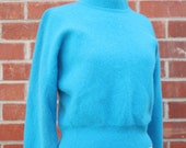 Vintage 80's turquoise long sleeve Angora cropped Sweater by Rafaella