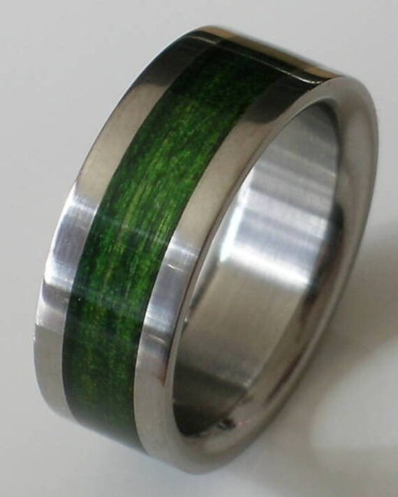 Green titanium wedding band images for Green wedding ring