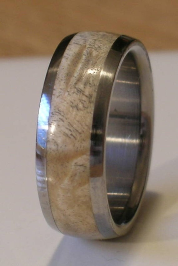 Titanium Wood Ring Comfort Fit Wedding Band Inlaid with Natural Maple Burl Wood Available in Ring sizes 4-18 for Men and Ladies