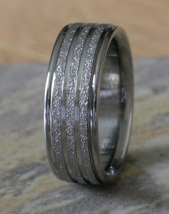 Titanium Wedding Band Custom Designed Size 10 8mm Wide Mens or Ladies Ring Satin Frost with Polished Line Design