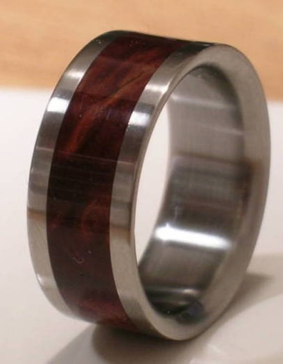 tungsten wooden wedding band desert iron wood mens or ladies ring size - Wooden Wedding Rings For Men