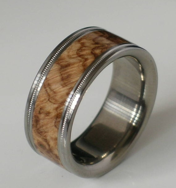 titanium wood ring brown maple burl band custom by usajewelry. Black Bedroom Furniture Sets. Home Design Ideas