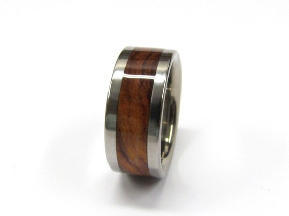 Tungsten Ring Exotic Hawaiian Brown Koa Wood Mens or Ladies Wedding Band in sizes 4-17 HandCrafted