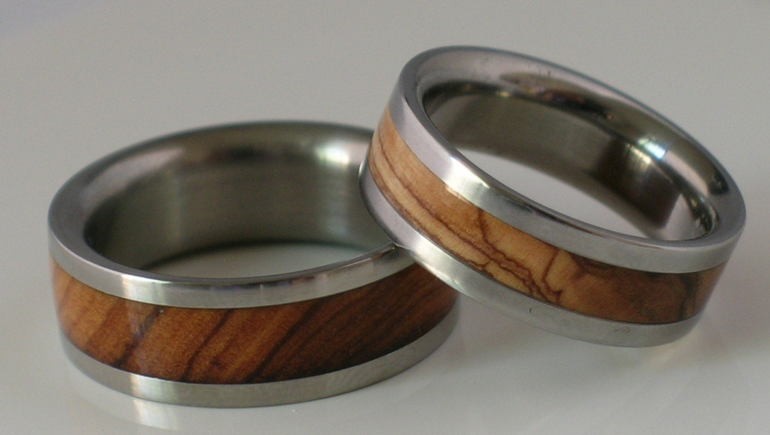 titanium wooden wedding band set of two custom made by